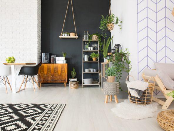 Modern black and white loft